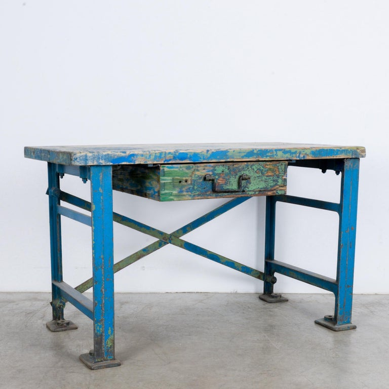 1950s Industrial Wooden Worktable For Sale 4