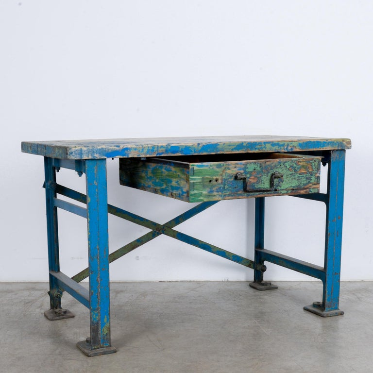 1950s Industrial Wooden Worktable For Sale 5
