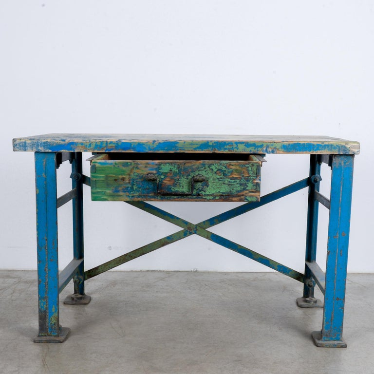 1950s Industrial Wooden Worktable For Sale 6