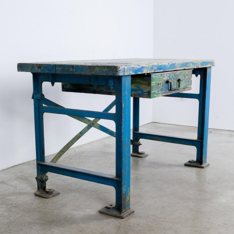 1950s Industrial Wooden Worktable For Sale 7