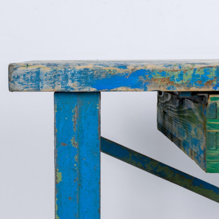 1950s Industrial Wooden Worktable For Sale 8