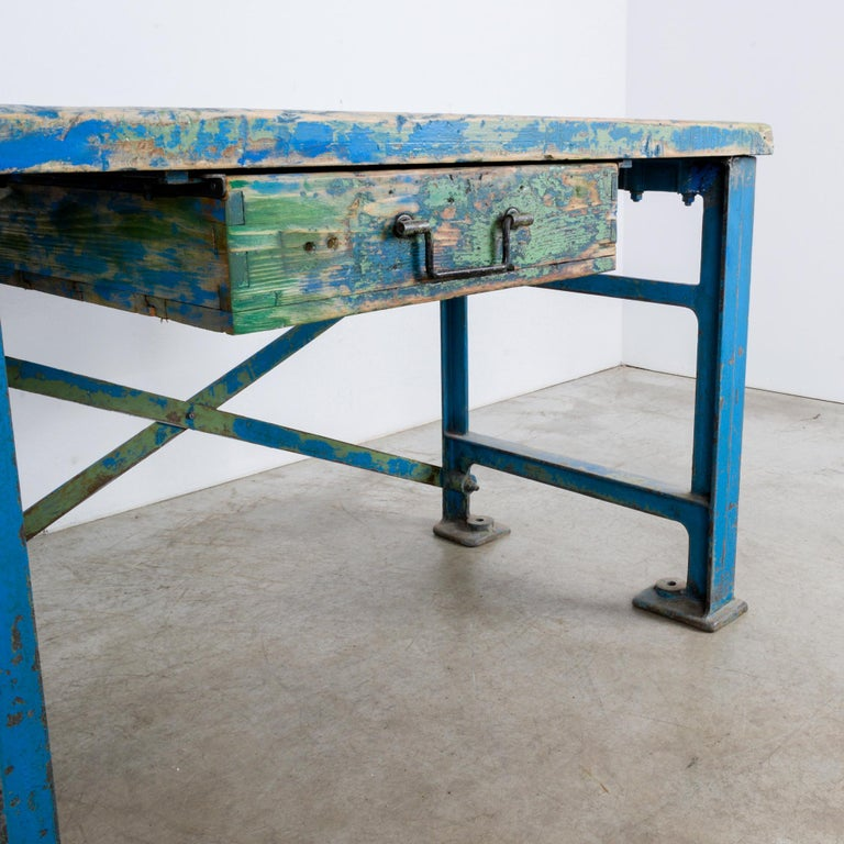1950s Industrial Wooden Worktable For Sale 9