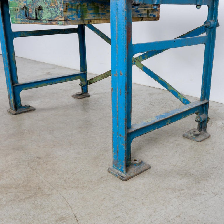 1950s Industrial Wooden Worktable For Sale 10