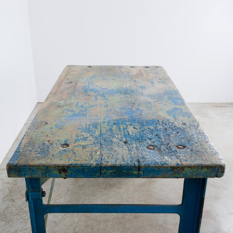 1950s Industrial Wooden Worktable For Sale 12