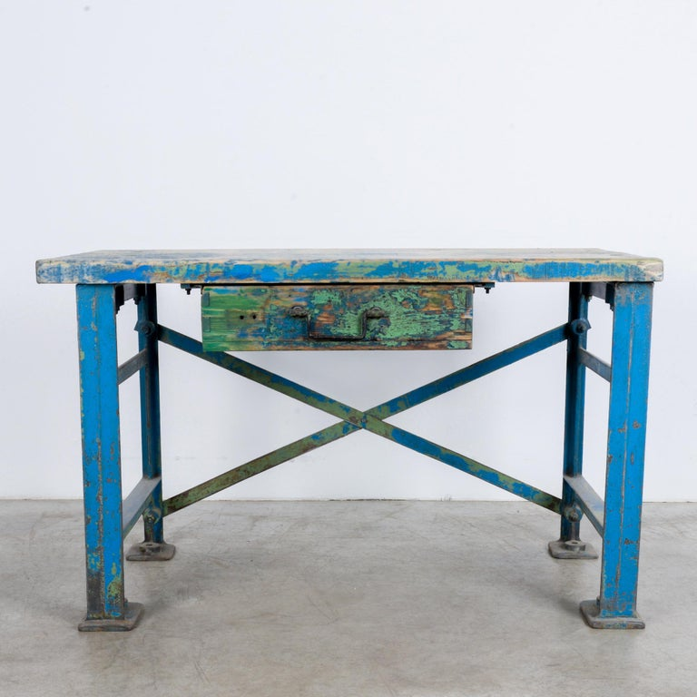 1950s Industrial Wooden Worktable For Sale 3