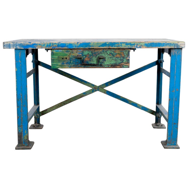 1950s Industrial Wooden Worktable For Sale