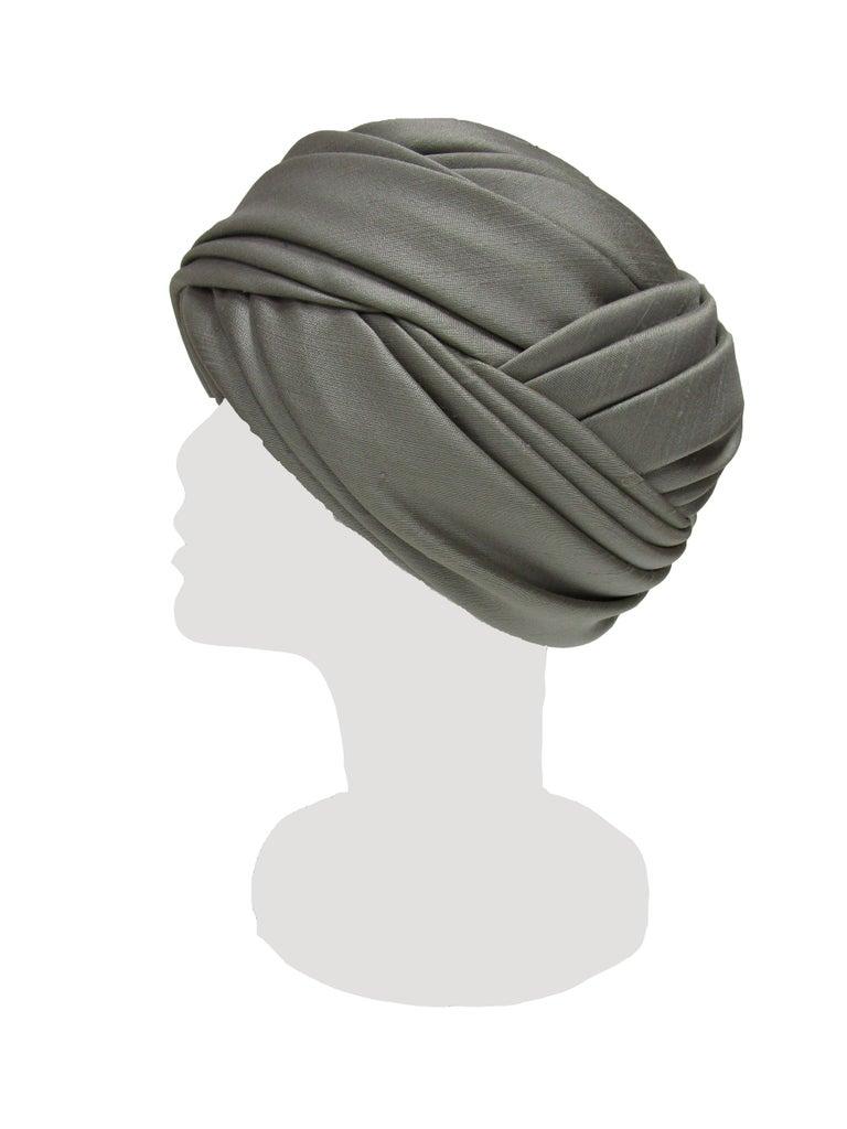 Gray 1950s Irene of New York Grey Raw Silk Turban  For Sale