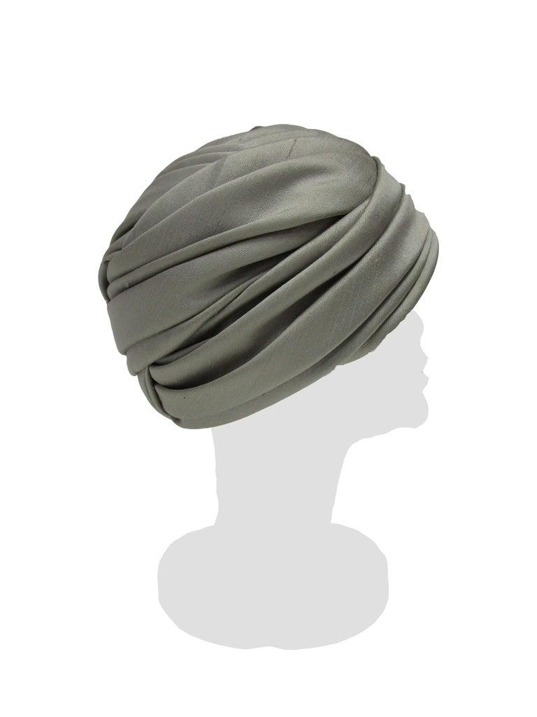 Women's 1950s Irene of New York Grey Raw Silk Turban  For Sale