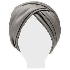 1950s Irene of New York Grey Raw Silk Turban