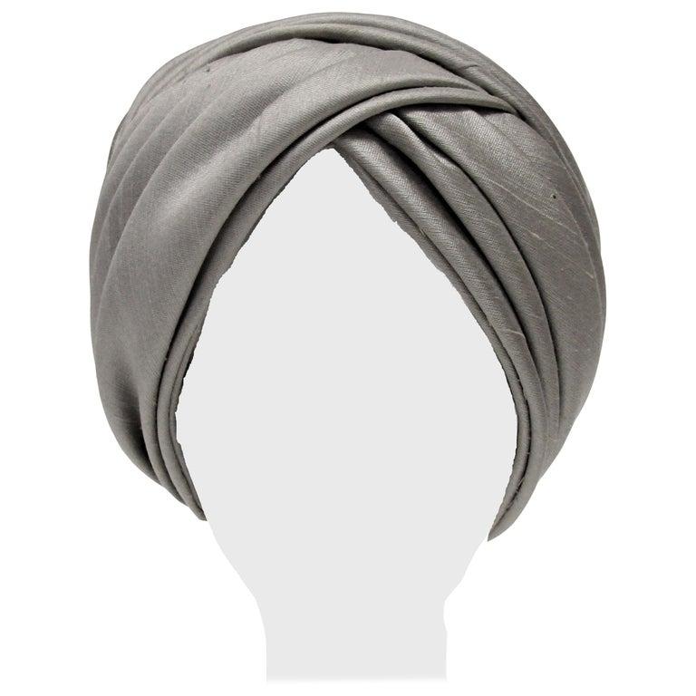 1950s Irene of New York Grey Raw Silk Turban  For Sale