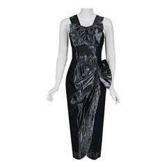 1950's Iridescent Gunmetal Silk-Taffeta Beaded Rhinestone Peplum Cocktail Dress