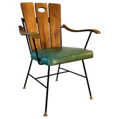 1950s Iron Frame and Oakwood Armchair
