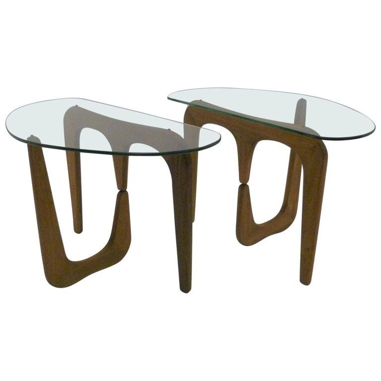 1950s Isamu Noguchi Style Organic Modern Glass Top Side Tables At 1stdibs