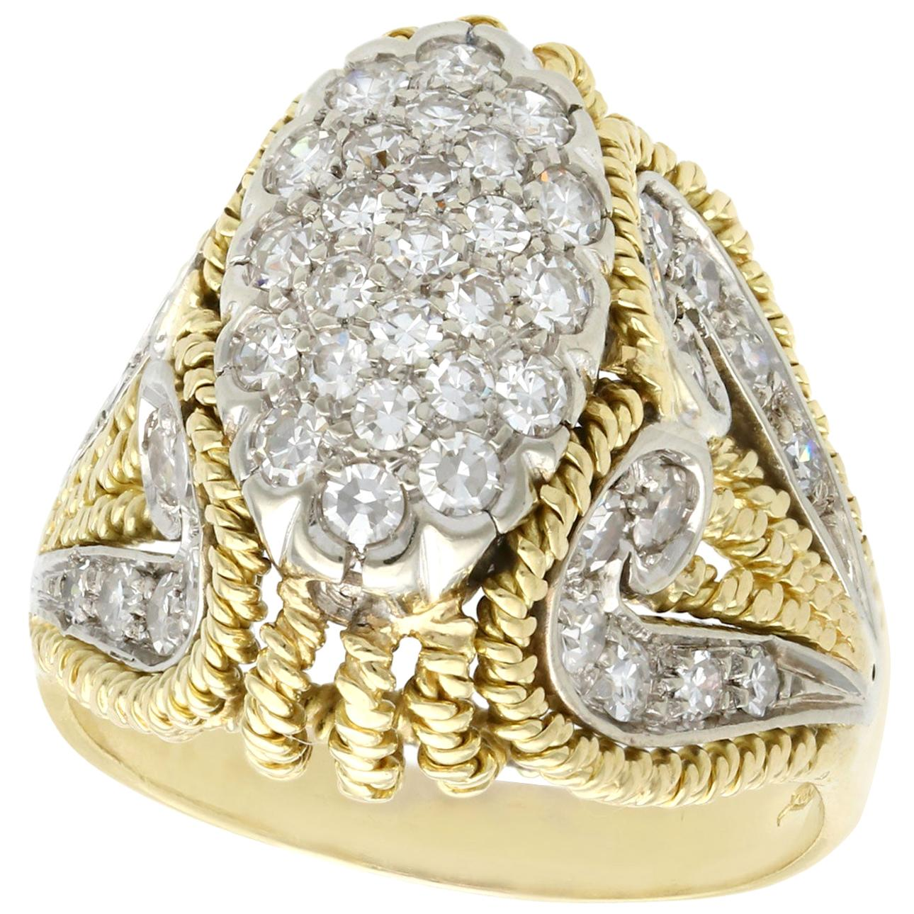 1950s Italian 1.12 Carat Diamond and Yellow Gold Cocktail Ring