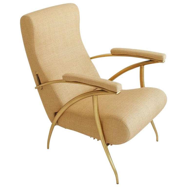 1957 Italian Adjustable Polished Brass Reclining Chair by Alberto Gambetta For Sale
