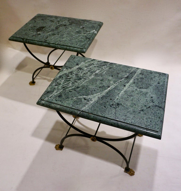 1950s Italian Antique Rustic Gold & Black Iron Green Marble Gueridon Sofa Table For Sale 5