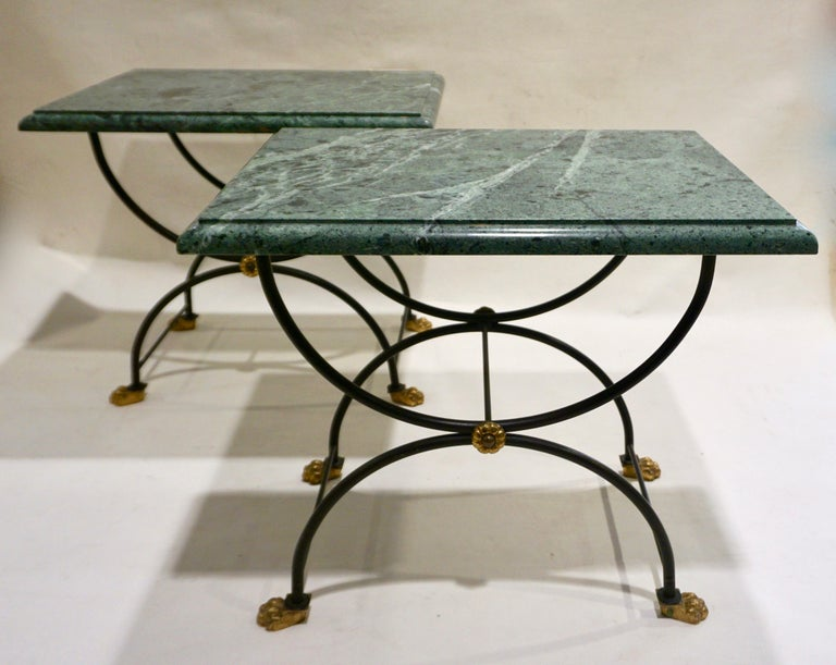 1950s Italian Antique Rustic Gold & Black Iron Green Marble Gueridon Sofa Table For Sale 6