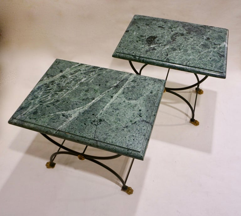 1950s Italian Antique Rustic Gold & Black Iron Green Marble Gueridon Sofa Table For Sale 7