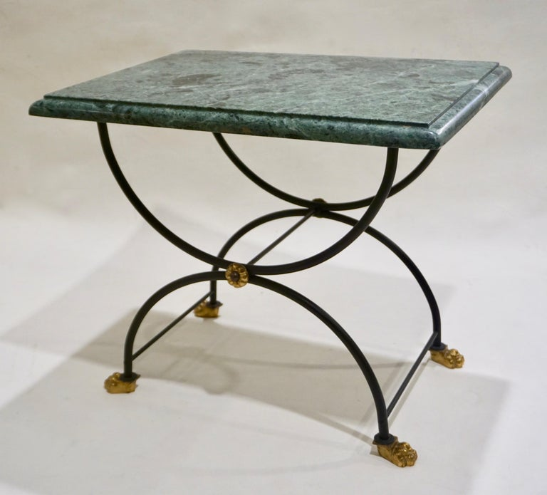 Mid-Century Modern 1950s Italian Antique Rustic Gold & Black Iron Green Marble Gueridon Sofa Table For Sale