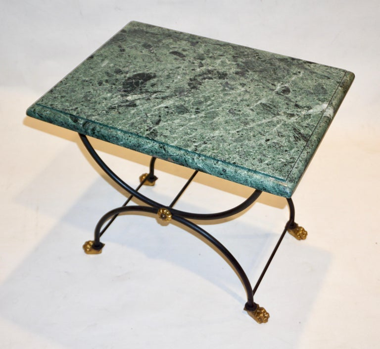 Hand-Crafted 1950s Italian Antique Rustic Gold & Black Iron Green Marble Gueridon Sofa Table For Sale