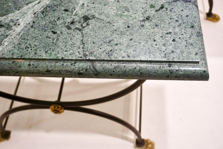 20th Century 1950s Italian Antique Rustic Gold & Black Iron Green Marble Gueridon Sofa Table For Sale