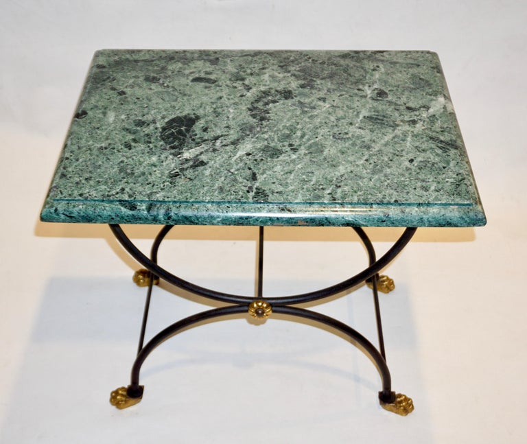 1950s Italian Antique Rustic Gold & Black Iron Green Marble Gueridon Sofa Table For Sale 3