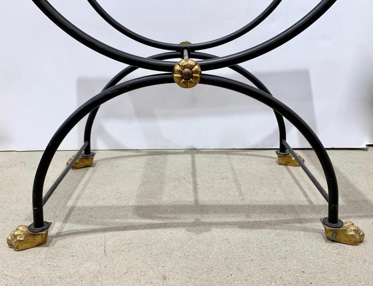 1950s Italian Antique Rustic Gold & Black Iron Green Marble Gueridon Sofa Table For Sale 2