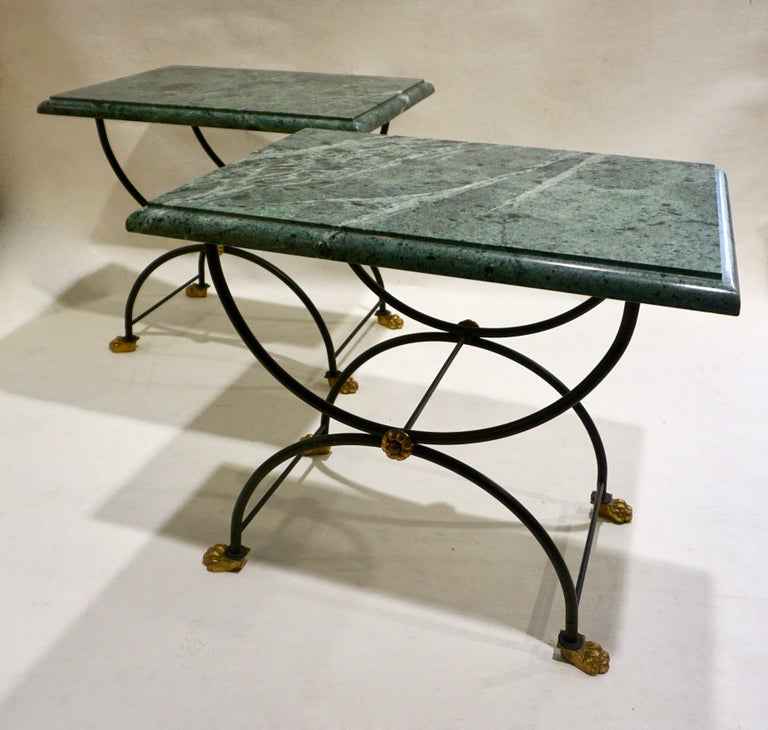 1950s Italian Antique Rustic Gold & Black Iron Green Marble Gueridon Sofa Table For Sale 4