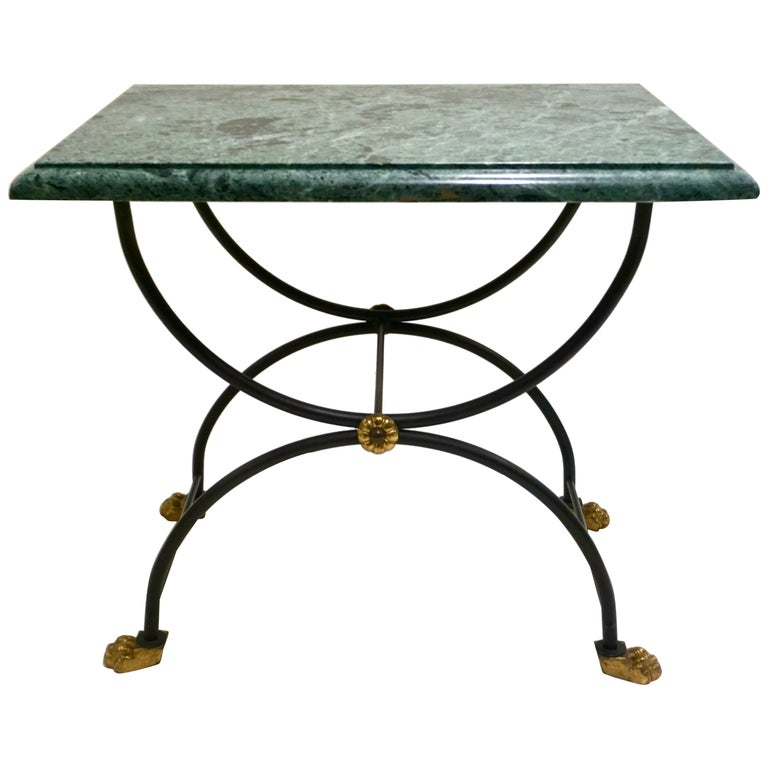 1950s Italian Antique Rustic Gold & Black Iron Green Marble Gueridon Sofa Table For Sale