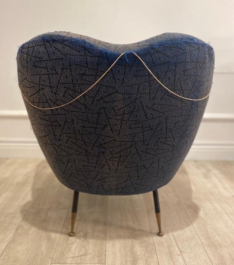 Fabric 1950s Italian Armchair by Poltrona Frau For Sale