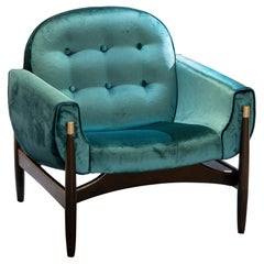 1950s Italian Armchair in Walnut and Teal Velvet, Brushed Chrome Details