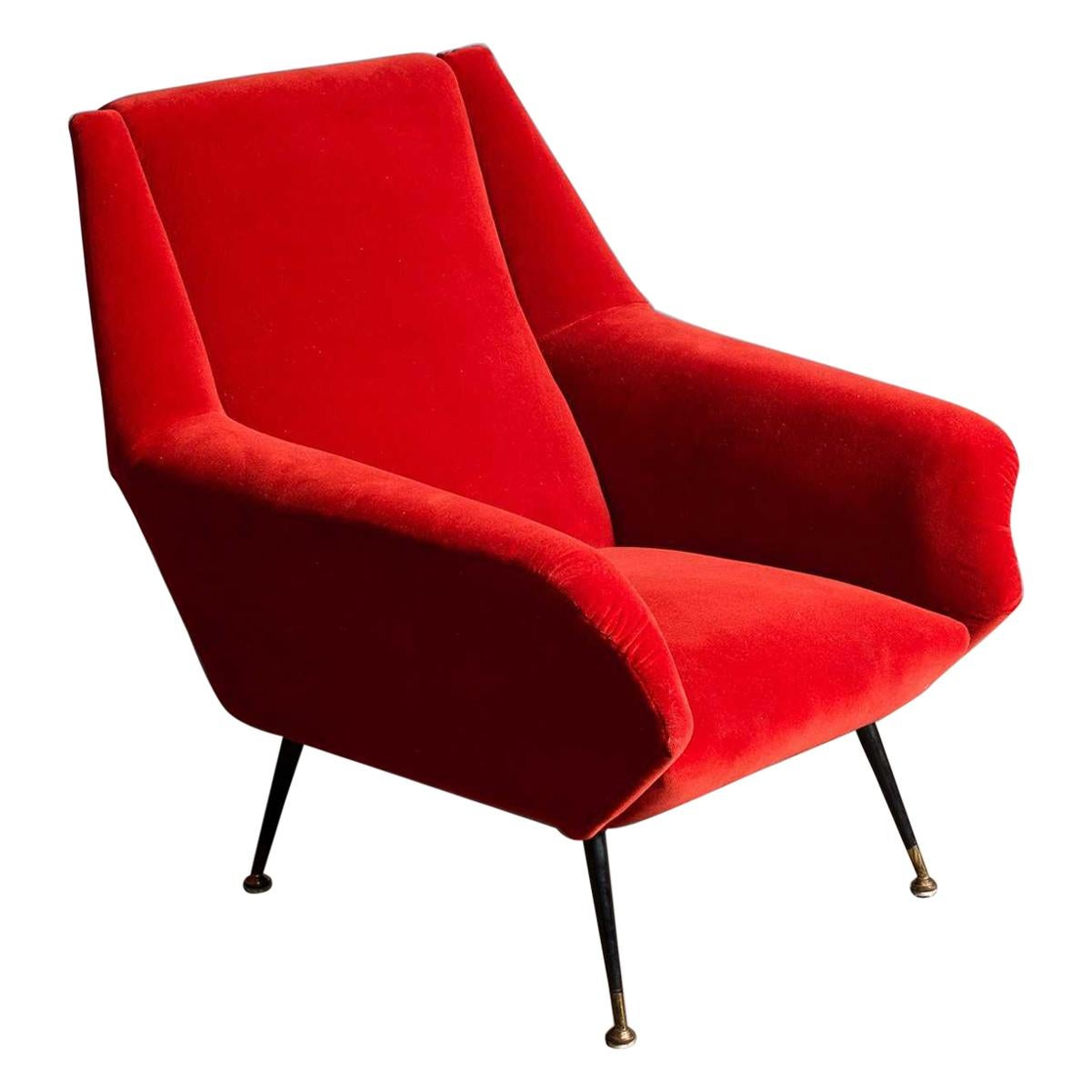 1950s Italian Armchair, Red
