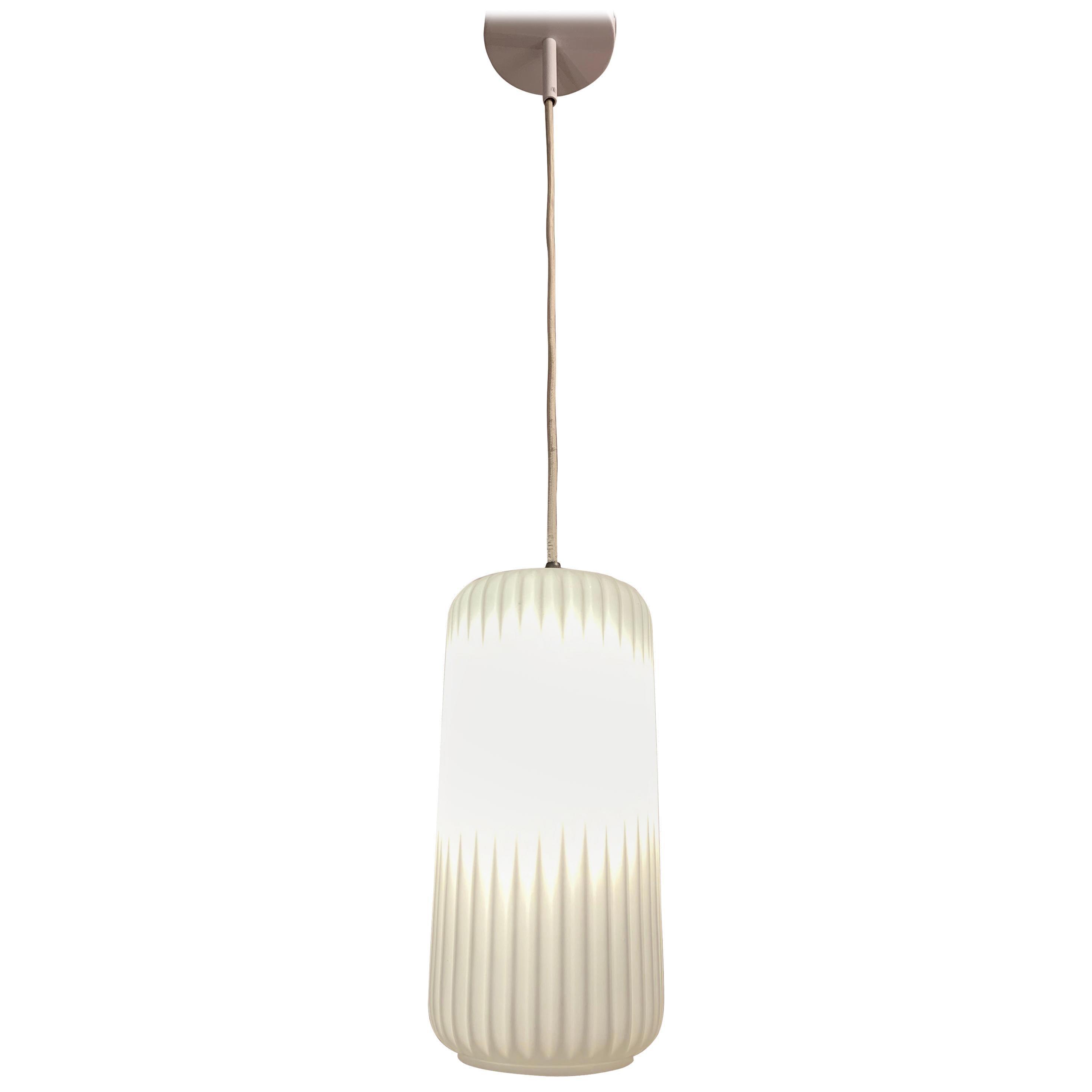 1950s Italian Arredoluce Style Opaline Ribbed Glass Pendant Hanging Light