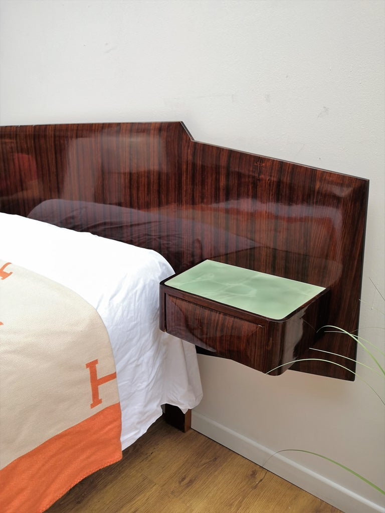 20th Century 1950s Italian Art Deco Mid-Century Modern Bed Frame with Floating Nightstands For Sale