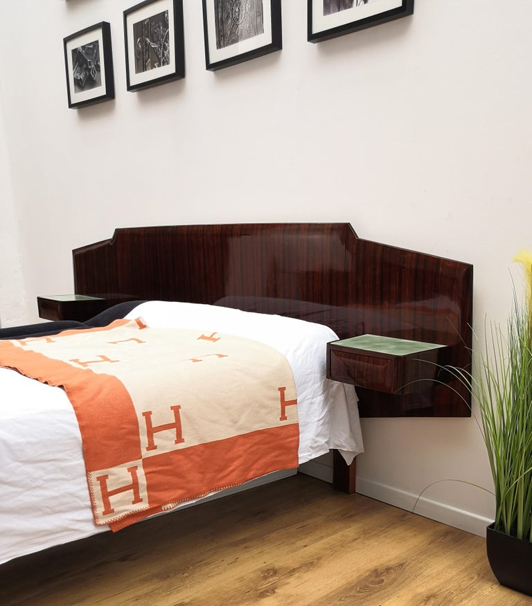 Glass 1950s Italian Art Deco Mid-Century Modern Bed Frame with Floating Nightstands For Sale