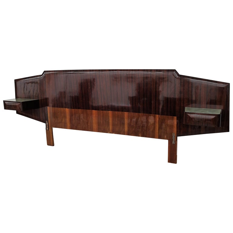 1950s Italian Art Deco Mid-Century Modern Bed Frame with Floating Nightstands For Sale