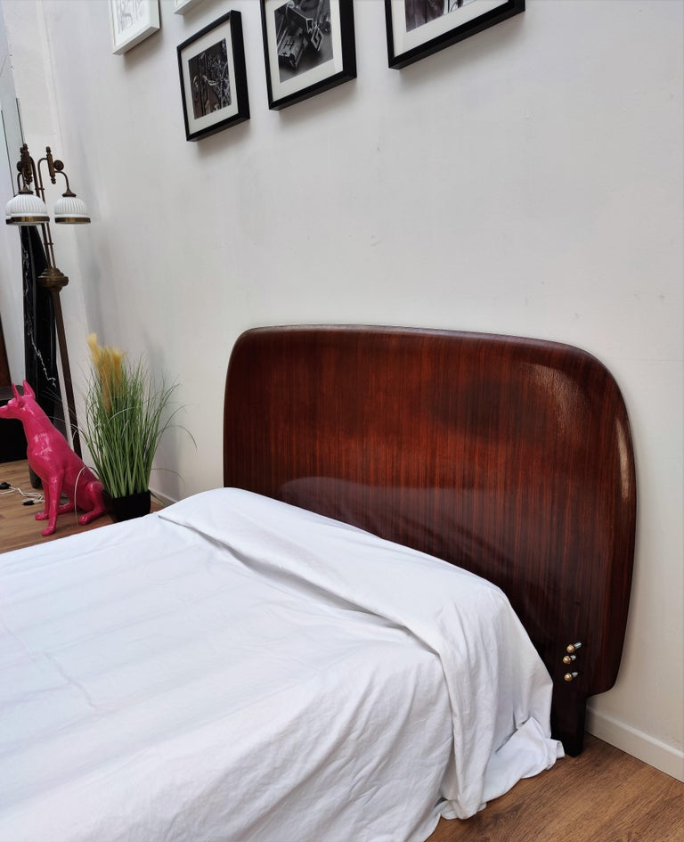 20th Century 1950s Italian Art Deco Mid-Century Modern Queen Bed Headboard Walnut Veneer Wood For Sale