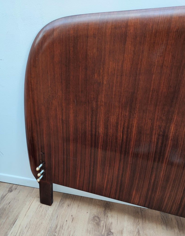 1950s Italian Art Deco Mid-Century Modern Queen Bed Headboard Walnut Veneer Wood For Sale 2