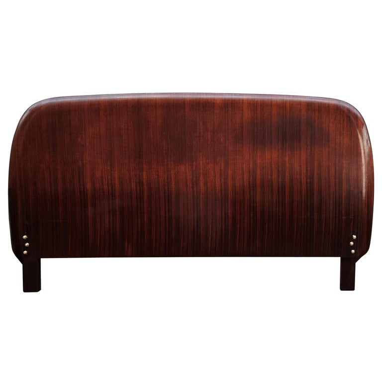 1950s Italian Art Deco Mid-Century Modern Queen Bed Headboard Walnut Veneer Wood For Sale