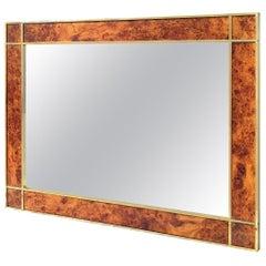 1950s Italian Art Deco Mid-Century Modern Regency Burl and Brass Mirror