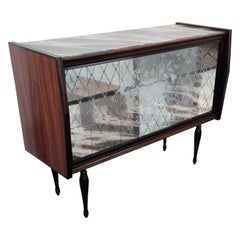 1950s Italian Art Deco Midcentury Regency Wood and Mirror Mosaic Dry Bar Cabinet