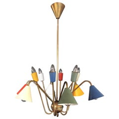 1950s Italian Atomic Chandelier in the Style of Angelo Lelli, 12 Light