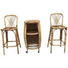 1950s Italian Bamboo Bar Set/Rattan Chairs and Bar/1950s Bamboo