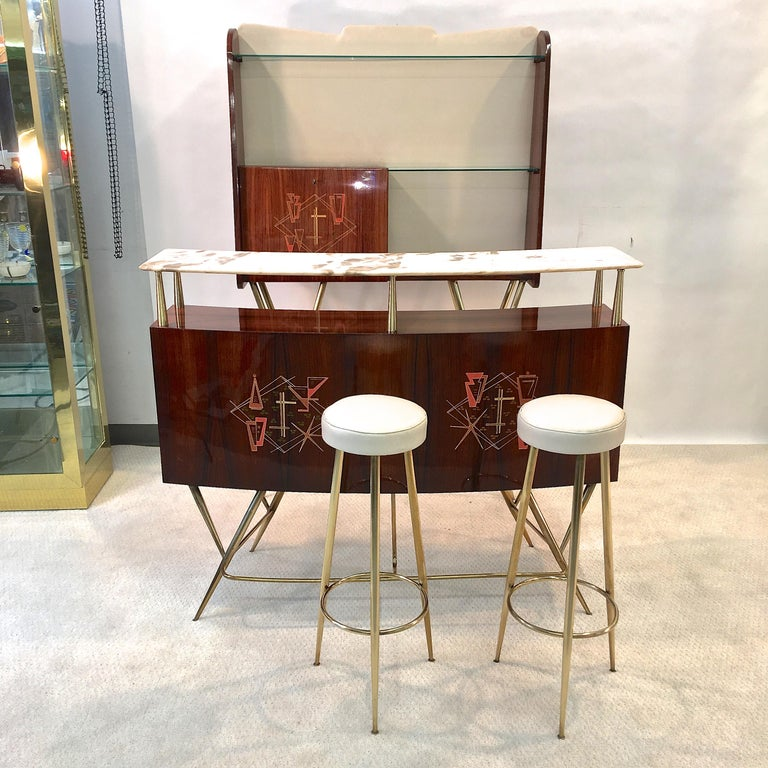 1950s Italian Bar, Back Bar and Pair of Brass Tripod Stools For Sale 7