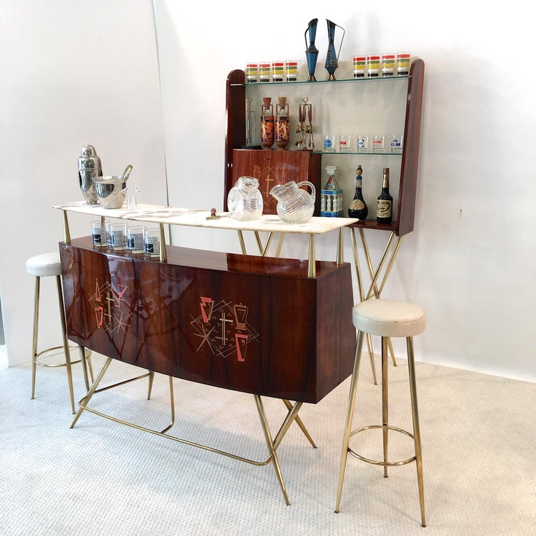 1950s Italian Bar, Back Bar and Pair of Brass Tripod Stools For Sale 13