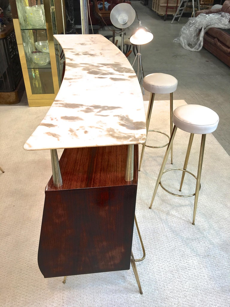 1950s Italian Bar, Back Bar and Pair of Brass Tripod Stools For Sale 3