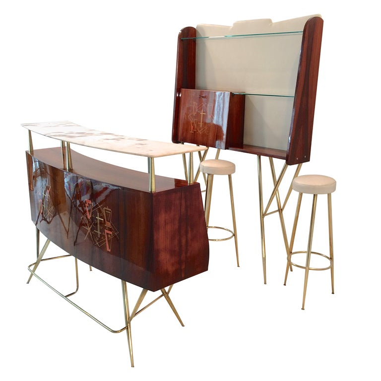1950s Italian Bar, Back Bar and Pair of Brass Tripod Stools For Sale