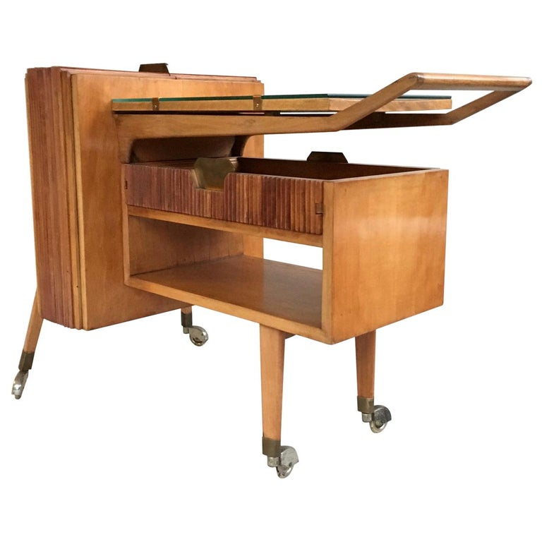 1950s Italian Bar Cart, Drinks Trolley, Light Wood and Brass, Mid-Century Modern For Sale