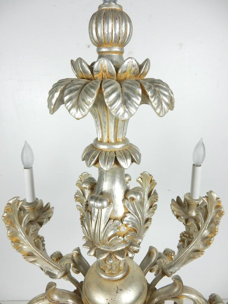 20th Century 1950s Italian Baroque Silverleaf Chandelier For Sale