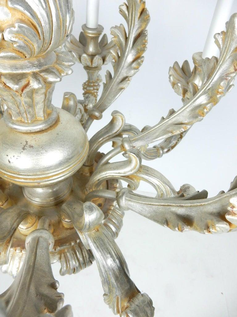 1950s Italian Baroque Silverleaf Chandelier For Sale 1